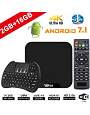 Android TV Box - VIDEN W2 Newest Android 7.1 Smart TV Boxsets, Amlogic Quad-Core, 2GB RAM & 16GB ROM, 4K Ultra HD, Support Video Encoder for H.264, WIFI Media Player + Multifunctional Keyboard
