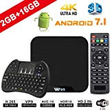TV Box Android 7.1 - VIDEN W2 Smart TV Box [2018 Ultima Generazione] Amlogic  Quad-Core, 2GB RAM & 16GB ROM, Video 4K UHD H.265, 2 Porte USB, HDMI, WiFi Web TV Box, + Mini Tastiera