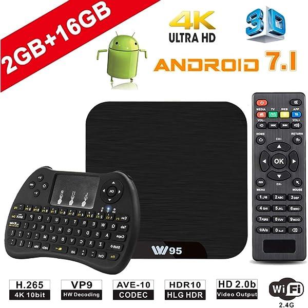 TV Box Android 7.1 - VIDEN W2 Smart TV Box Amlogic Quad Core, 2GB RAM & 16GB ROM, 4K*2K UHD H.265, HDMI, USB*2, 2.4GHz WiFi, Web TV Box, Android Set-Top Box, +