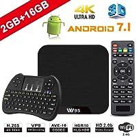 TV Box Android 7.1 - VIDEN W2 Smart TV Box [2018 Ultima Generazione] Amlogic  Quad-Core, 2GB RAM & 16GB ROM, Video 4K UHD H.265, 2 Porte USB, HDMI, WiFi Web TV Box, + Mini Tastiera