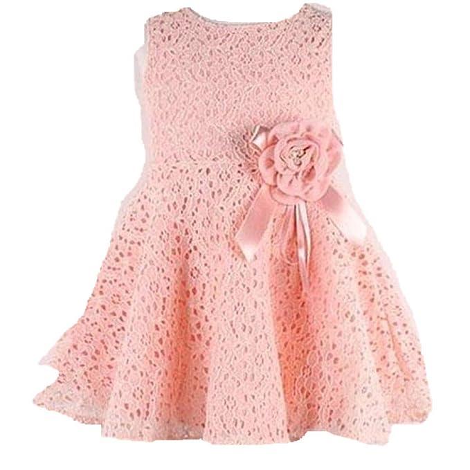 Bebé niña encaje completo floral perchada Tul Rosa manga sin vestido ,Yannerr Hija recien nacido