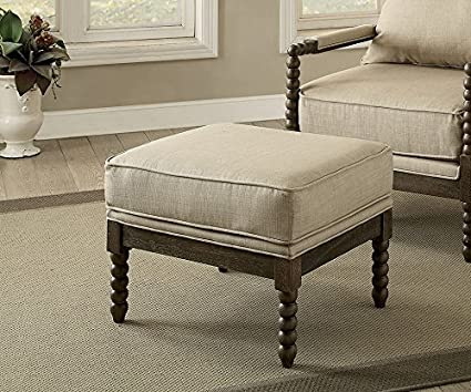 Amazon.com: Tarragona Gray/Beige Fabric/Solid Wood Ottoman ...