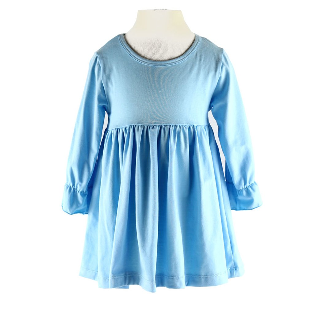Wennikids Little Baby Girls' Long Sleeve Cotton Ruffle Top Dress LC-RS-526