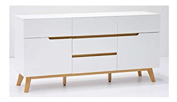 Lifestyle4living Kommode Sideboard Weiss Matt Eiche Retro
