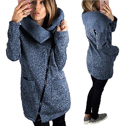 Cerniera Con Elegante Manica Casual Maglione Inverno Cappuccio Felpa Donna Giacca Cappotto Blu A Da Chiusura Bainasiqi Lunga Asimmetrica B5pzFxwqW