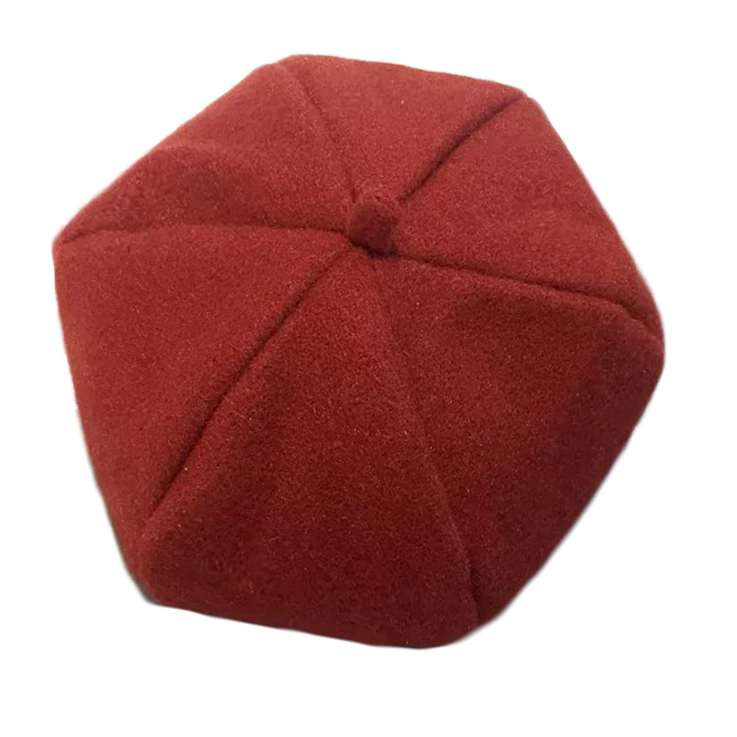 GAOU Womens Classic French Artist Solid Color Wool Beret Hat Beanie Cap Pumpkin Hat Unsex