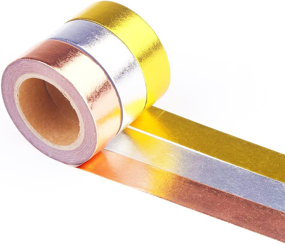DECORA 3 Pieces Gold Washi Masking Tape Collection Premium DIY Arts & Crafts Tape and Gift Wrapping Supplies for Christmas and New Year Decoration