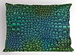 Ambesonne Abstract Pillow Sham, Alligator Skin African Animal Crocodile Reptile Safari Wildlife Vibrant Artwork, Decorative Standard King Size Printed Pillowcase, 36 X 20 inches, Green Blue