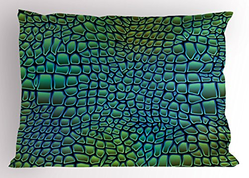 Ambesonne Abstract Pillow Sham, Alligator Skin African Animal Crocodile Reptile Safari Wildlife Vibrant Artwork, Decorative Standard King Size Printed Pillowcase, 36 X 20 inches, Green Blue by Ambesonne