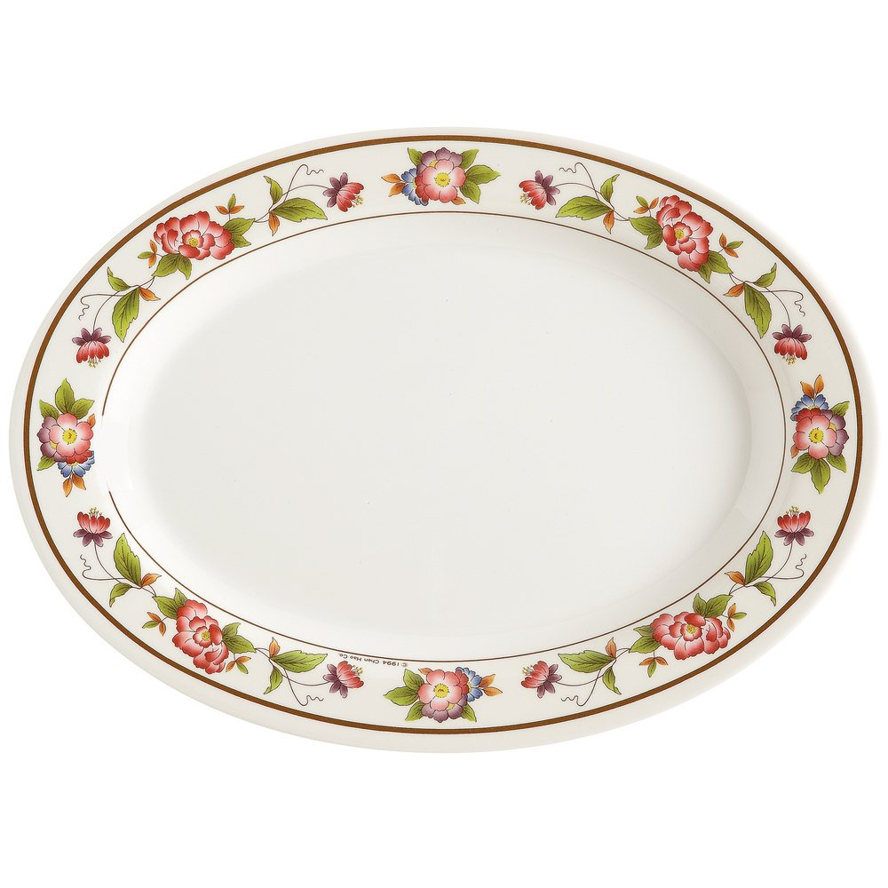 GET M-4020-TR 14'' Tea Rose Dynasty Oval Melamine Platters (Qty, 12) 14 Inches