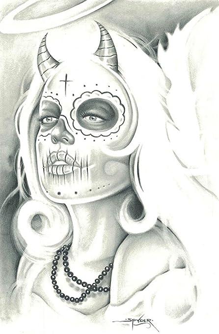 Amazon Com Mexican Angel By Spyder Sexy Devil Sugar Skull Tattoo