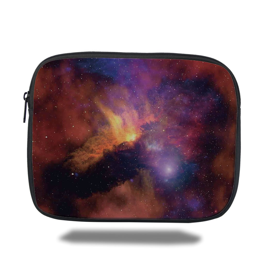Laptop Sleeve Case,Space Decorations,Space Stars and Nebula Gas and Dust Cloud Celestial Solar Galacy System Print,Purple Red Orange,iPad Bag