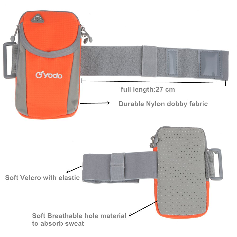 yodo Running Sport Armband with Key Holder and Earphone Hole,2 pouches Fits for iPod Nano/Cell Phone iPhone7S /6S plus/Samsung Galaxy S5 S6 S7 Edge for Workout Exercise Gym Jogging Walking,Orange by yodo (Image #2)