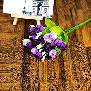 Erovy 15 Heads QQ Rose Buds Artificial Flowers Artificial Simulation Flowers Home Party Wedding Decoration Plant Potted Plants [2] 20