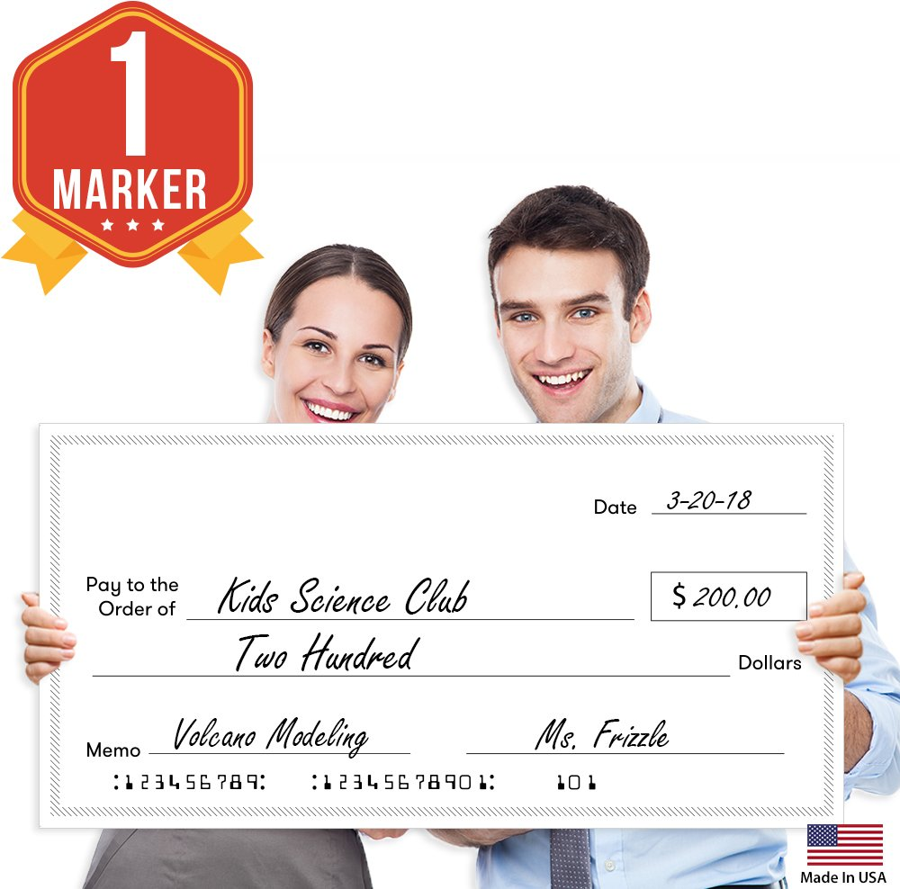 Giant Fake Award Presentation Check - 32'' x 16'' - Large Novelty Endowment Check for Endowment, Donations, Fundraiser - Big Blank Oversized Raffle Sweepstakes Reward Winners Check (Striped Borders) by Pixelverse Design