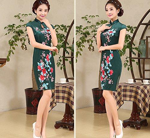 YueLian Damen Frauen Retro QiPao Kleid mit Blumen Muster Schlüsselloch Kurze Abendkleid