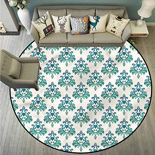 Living Room Area Round Rugs,Victorian,Leaves and Heart Shapes,Super Absorbs Mud,4'11