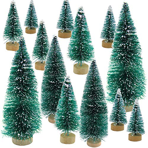 Grosun 48 Pieces Artificial Mini Christmas Trees Mini Pine Tree with Wood Base Tabletop Trees Snow Ornaments for Christmas Party Home Decoration