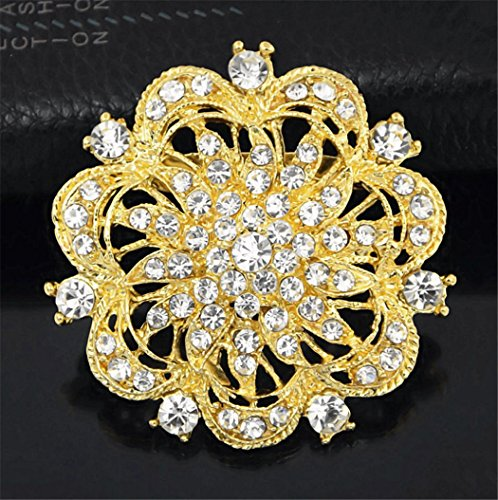 Exquisite Fashion Elegant Diamond Flower Brooch Breastpin Corsage Jewelry Masquerade Theme Party Wedding Bridal Princess Queen Costume Accessories (Golden) ()