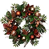 V&M VALERY MADELYN Christmas WreathPre-Lit24 Woodland Artificial Greenery Eucalypti Leaves Wreath, Decorative Wreath with Christmas Ball Ornaments and Pine Cones, Battery Operated 20 LED Lights.