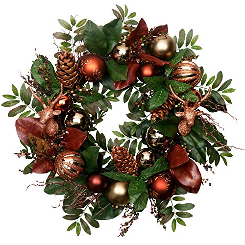 V&M VALERY MADELYN Christmas WreathPre-Lit24 Woodland Artificial Greenery Eucalypti Leaves Wreath, Decorative Wreath with Christmas Ball Ornaments and Pine Cones, Battery Operated 20 LED Lights. by V&M VALERY MADELYN