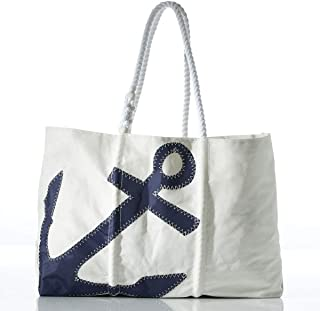 product image for Sea Bags Recycled Sail Cloth Navy Anchor Tote Large