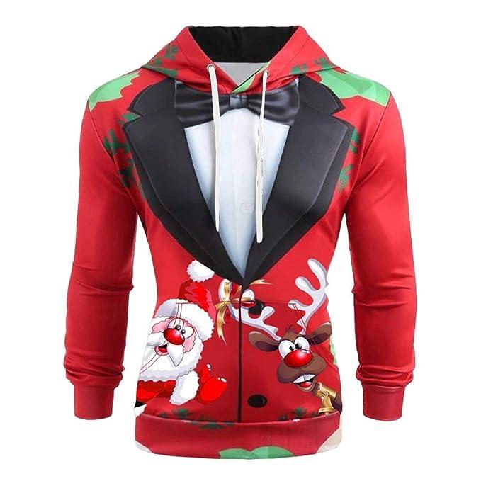 ღLILICATღ Navidad Hoodie Hombre Funny 3D Impreso Sudaderas ...