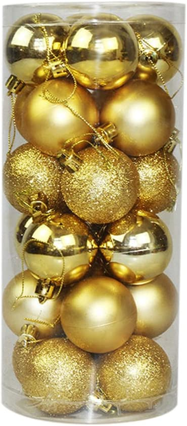 40mm Gold Aimeart 24pcs//lot Multicoloured Christmas Tree Ball Baubles Xmas Party Wedding Navidad Hanging Ornament Christmas Decoration Supplies Tree Ornaments Hooks Included 1.57/""