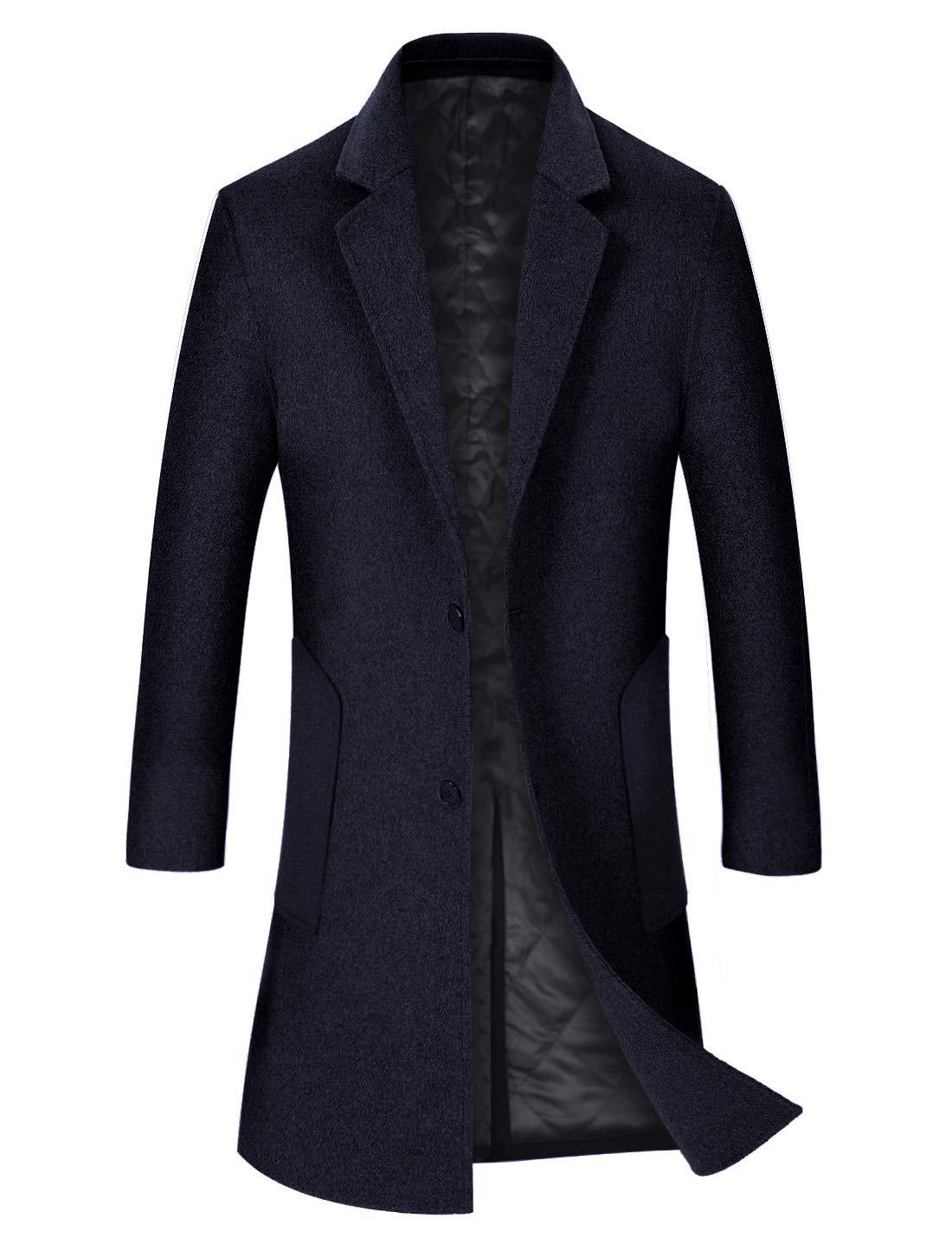 zeetoo Men's Wool Trench Coat Winter Slim Fit Wool Jacket Long Peacoat Overcoat Blue-Black Plus Cotton Small by zeetoo