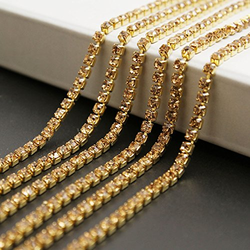 USIX 10 Yards Crystal Rhinestone Close Chain Trimming Claw Chain Multi Size Color Rhinestone Chain for DIY Arts Craft Sewing Jewelry Making, Gold-Gold Chain, SS12/3.0MM