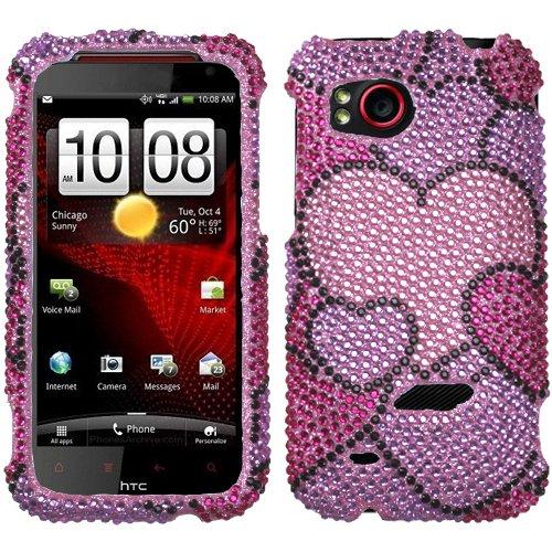 For HTC ADR6425(Rezound) Case Cover Bling Rhinestones Cloudy Hearts Diamond * MYBAT