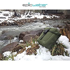 Epic Outdoor Emergency Survival Water Filter Pump, 0.01 Micron Water Purifier, USA Made 7 Stage Nanofiltration Filter removes 99.9999% Viruses, Bacteria, Cysts, with MOLLE OD Green Tactical Carry Case