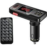 OBEST「ハンズフリー通話+音楽コントロール+ポート充電」Bluetooth搭載FMトランスミッタ*2ポート付きUSBカーチャージャー MP3プレーヤー、TFカード、USBメモリなど対応