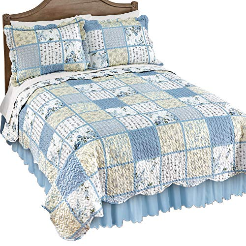 Collections Etc Willow Blue and Yellow Floral Patchwork Quilt with Checkered and Striped Patterns, Scalloped Edge Detail, Twin ()