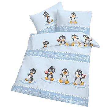 Cmf Biber Bettwäsche Baby Pinguin Hell Blau 100x135 Cm Bettbezug