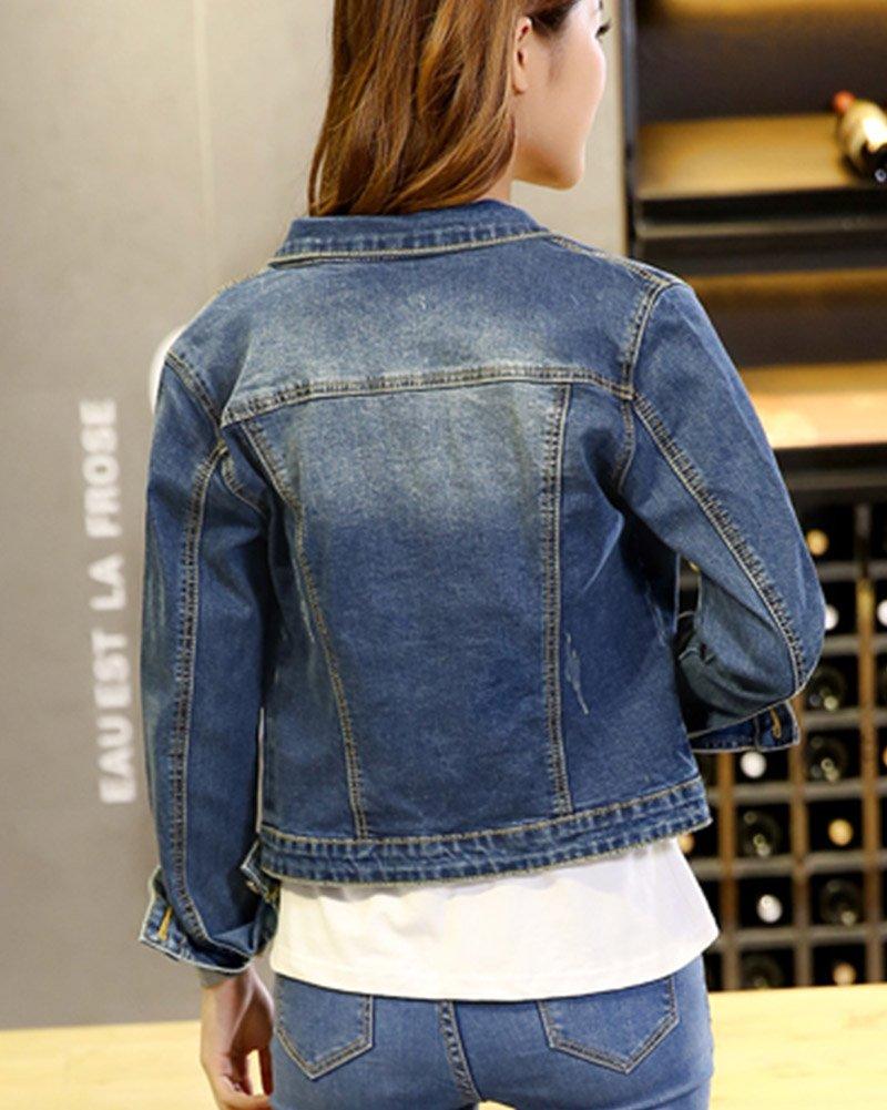 SaiDeng Mujeres Corto Chaquetas Jacket De Mezclilla Abrigo Denim Jacket: Amazon.es: Deportes y aire libre