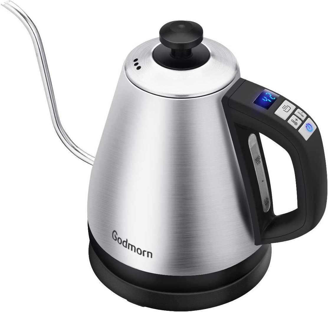Godmorn Electric Kettle Gooseneck Tea Water with Keep Warm and Preset Temperature Function, Digital Temperature Control LCD Display Pour Over Kettle,