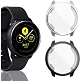 [2 Pack] Screen Protector Case for Samsung Galaxy Watch Active 40mm Black & Silver