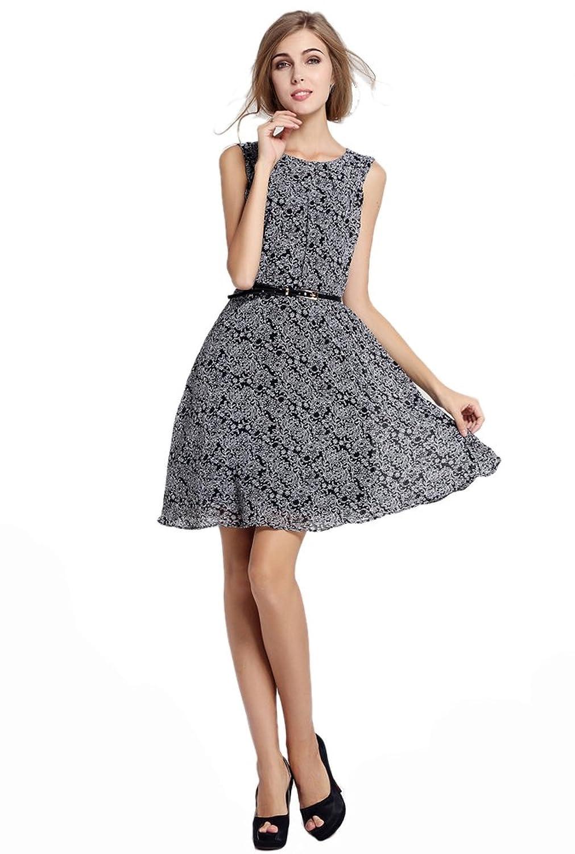 Purpura Erizo Womens Bodycon Flora Printing Sleeveless Collar Pleated Dress