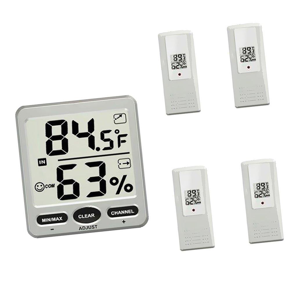 MagiDeal Digital Wireless thermometer Temperature Hygrometer Console + Remote Sensor - 1 Receiver+1 Remote Sensor