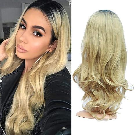 Golden Rule rubia Ombre raíces negras Onda del cuerpo suave pelo sintético peluca llena para mujeres
