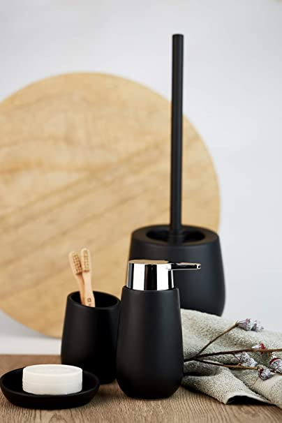 Seifenschale Seifenhalter Seifenablage Keramik schwarz Ø 11,3cm H 2,5cm Bad