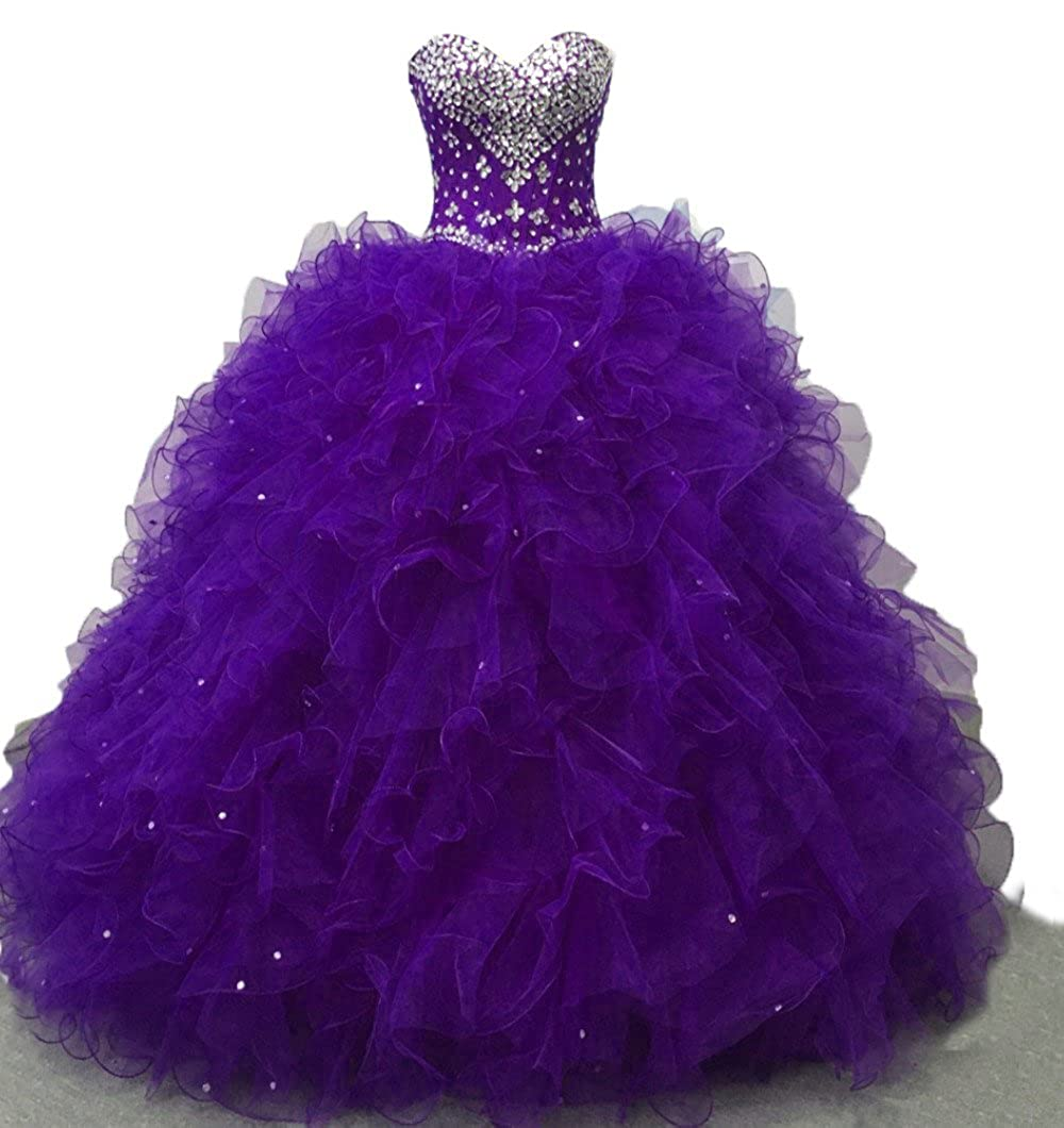 Purple A Diandiai Sweetheart Quinceanera Dress Beads Ruffles Ball Gown Prom Dress