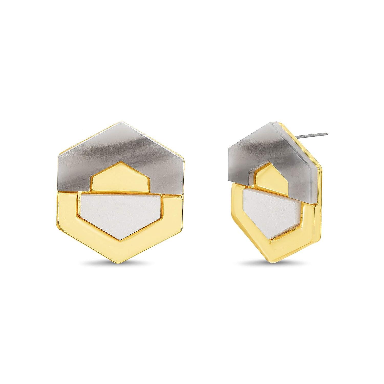 Catherine Malandrino 1 Marble Design Geo Hexagon Shaped Yellow Gold-Tone Stud Earrings for Women