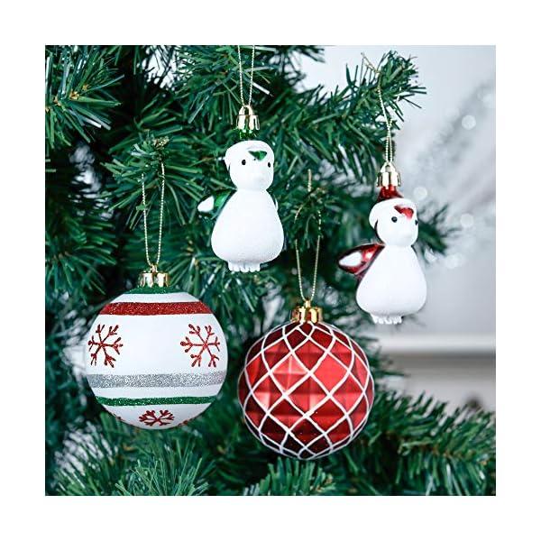Valery Madelyn Palle di Natale 60 Pezzi di Palline di Natale, 3-4 cm Collezione Classica Ornamenti di Palle di Natale Infrangibili Rosso Verde e Bianco per la Decorazione Dell'Albero di Natale 4 spesavip