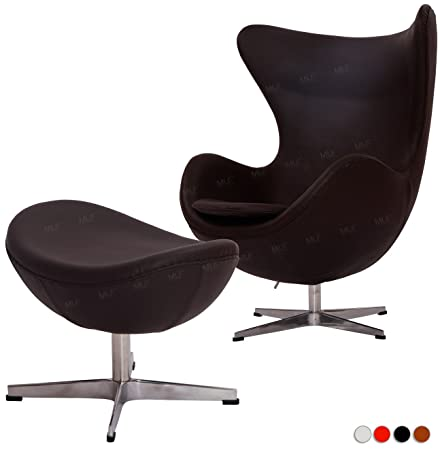 Attrayant MLF Reproduction Arne Jacobsen Egg Chair U0026 Ottoman In Top Light Brown  Italian Leather
