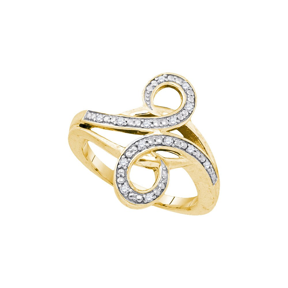 Yellow-tone Sterling Silver Ring Womens Diamond Bypass Curl 1/8 Cttw