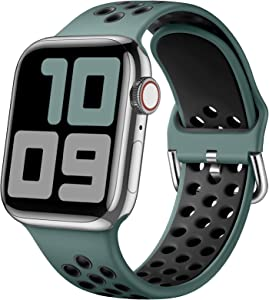 SNBLK Sport Bands Compatible with Apple Watch Bands 40mm 38mm,Soft Breathable Silicone Replacement Strap with Classic Clasp for Women Men for iWatch SE Series 6 5 4 3 2 1,Pine Green/Black 38/40mm