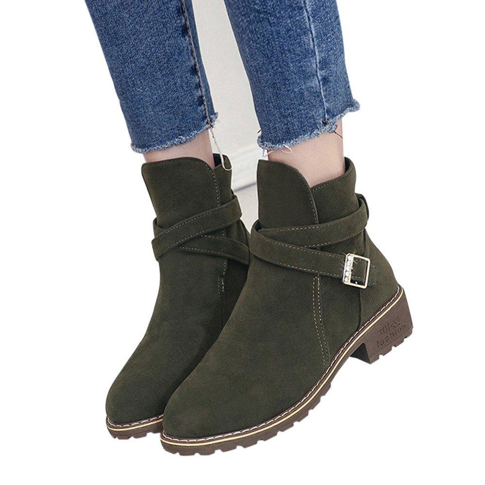 Robemon♚Martin Bottes Femme Hiver Daim Boots Chaussures Talon Faible Automne Chic Classiques Bottines Boucle en Métal