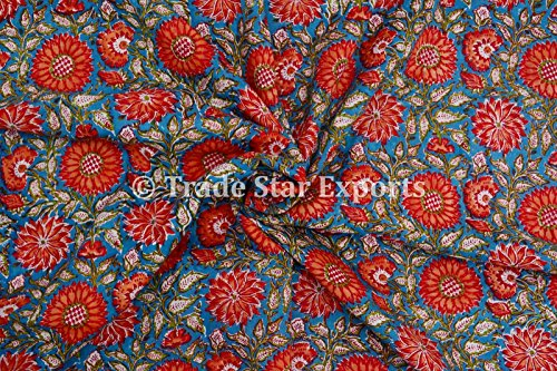 3 Yard Hand Block Printed Fabric, Cotton Voile Fabric for Sewing,Crafting, Dressmaking, Running Natural Dye Sanganeri Indian Floral Print Fabric by The Yard Width 44 Inches (Pattern 3)